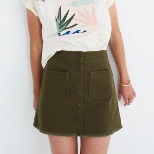 Raw-Hem A-Line Mini Skirt in Kale